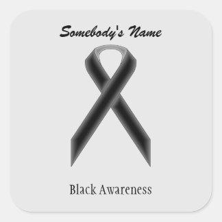 Black Standard Ribbon Square Sticker