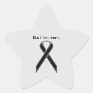 Black Standard Ribbon Star Sticker