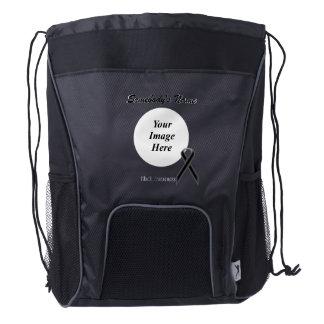 Black Standard Ribbon Template Drawstring Backpack