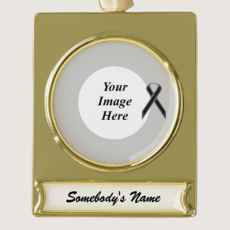 Black Standard Ribbon Template Gold Plated Banner Ornament
