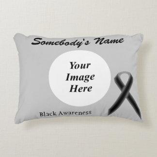 Black Standard Ribbon Template Accent Pillow