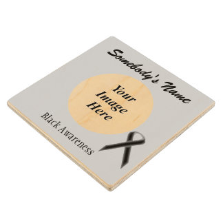Black Standard Ribbon Tmpl by Kenneth Yoncich Wooden Coaster