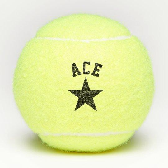 Black Star Ace Custom Name Initials Tennis Balls Zazzle Com
