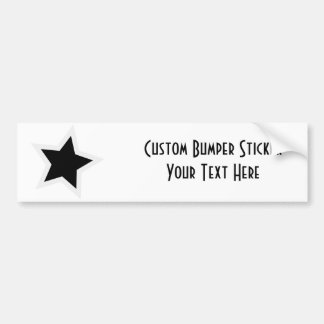 Black Star Bold White Outline Car Bumper Sticker