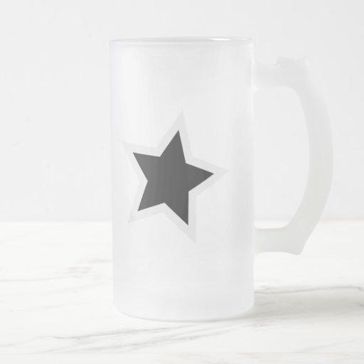 Black Star Bold White Outline 16 Oz Frosted Glass Beer Mug