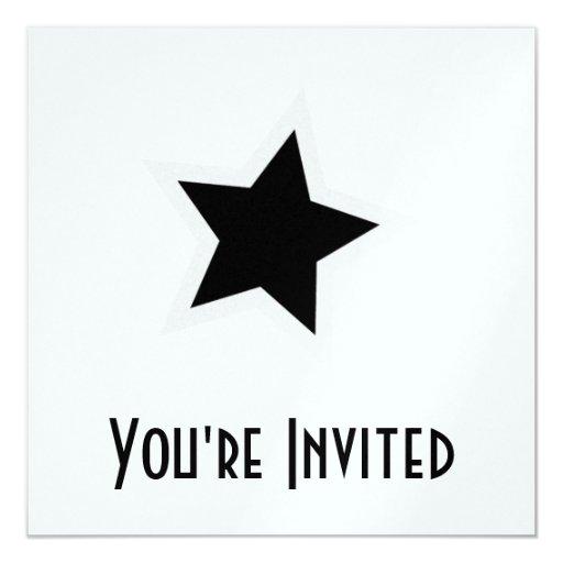 Black Star Bold White Outline Personalized Invite