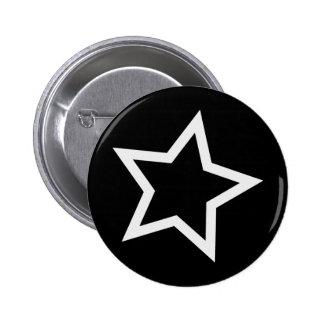 Black Star Bold White Outline Pinback Button
