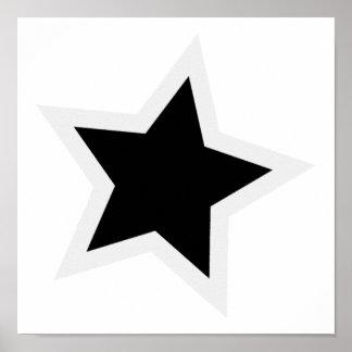 Black Star Bold White Outline Posters