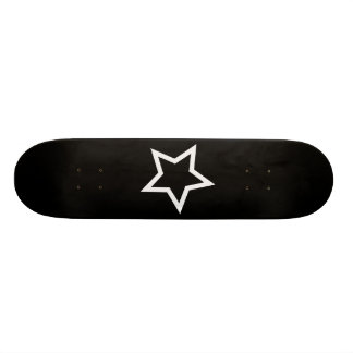 Black Star Bold White Outline Skateboard Deck