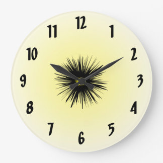 Black Star Flower Abstract Clock