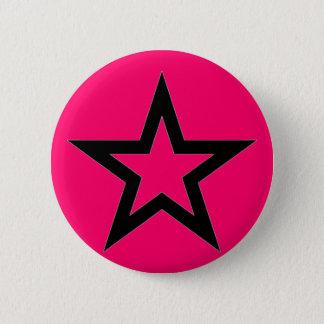Black Star on Pink - Button