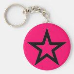Black Star on Pink - Keychain