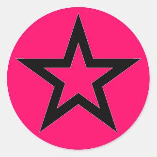 Black Star on Pink - Sticker