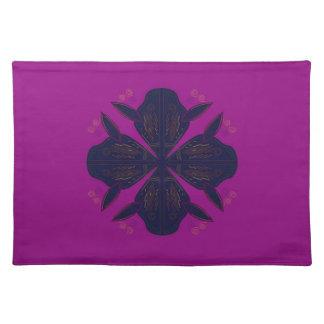 Black star on purple cloth placemat