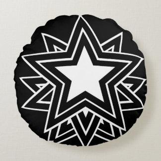 black star round pillow