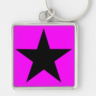 Black Star Silver-Colored Square Keychain
