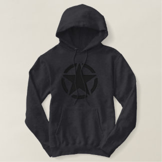 Black Star Vintage Decal Large Embroidery Embroidered Hoodie