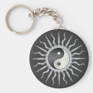 Black Starburst Yin Yang Keychains