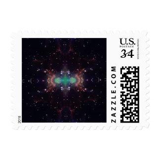 Black stars galaxies glitter sparkling design postage stamp