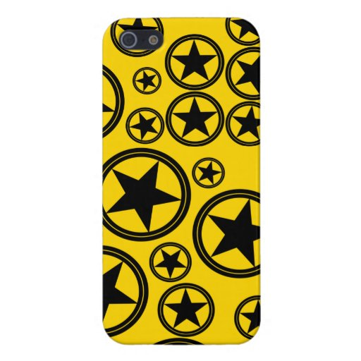 Black Stars in Circles on Gold Case For iPhone 5