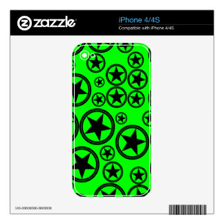 Black Stars in Circles on Neon Green Skin For iPhone 4S