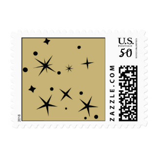 Black stars on Gold background Postage