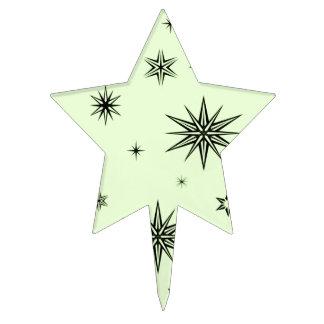 Black stars on green cake topper