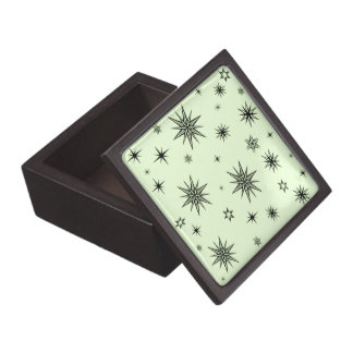 Black stars on green gift box