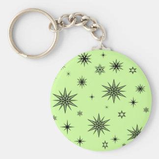 Black stars on green keychain