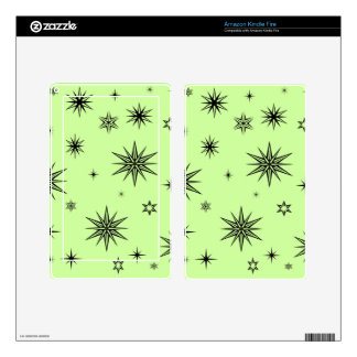 Black stars on green kindle fire decal