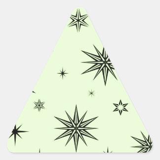 Black stars on green triangle sticker