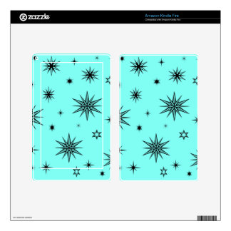 Black stars on turquoise kindle fire decal