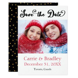 Black Starstruck Confetti - Save the Date Card