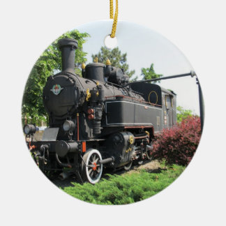 Black Steam Engine Train Ornament