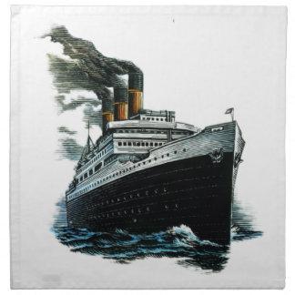 Black steamer ship American MoJo Napkin