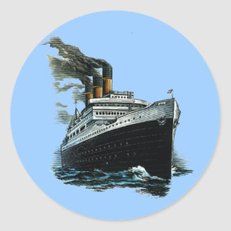 Black steamer ship classic round sticker