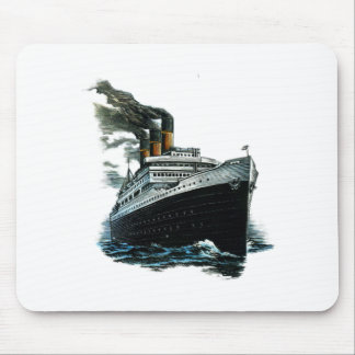 Black steamer ship mouse pad