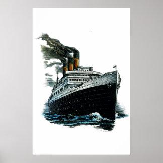 Black steamer ship poster