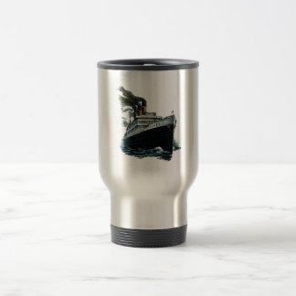 Black steamer ship travel mug
