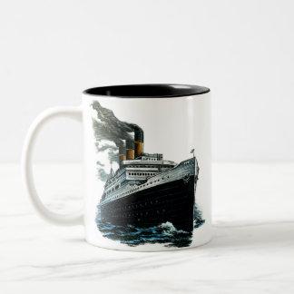 Black steamer ship Two-Tone coffee mug