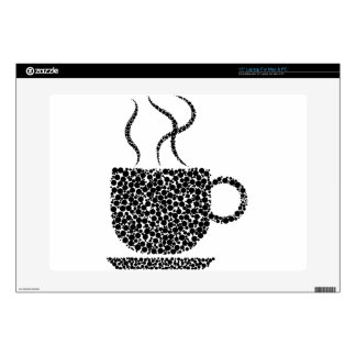 """Black Steaming Cup Decal For 15"""" Laptop"""
