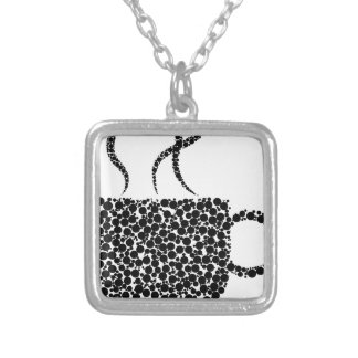 Black Steaming Cup Silver Plated Necklace