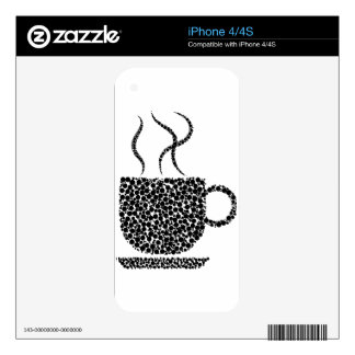 Black Steaming Cup Skin For iPhone 4S