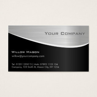 Black Steel Effect, Professional Business Card at Zazzle