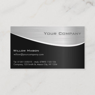 Black and silver business cards zazzle black steel effect professional business card reheart Images