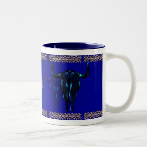 Black Steer Skull Mug