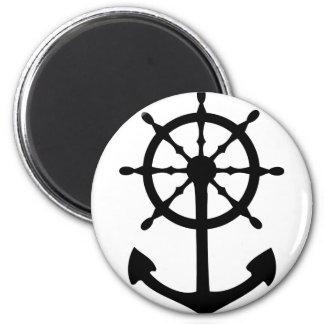 black steering wheel anchor icon 2 inch round magnet