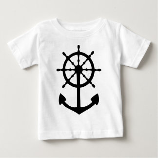 black steering wheel anchor icon baby T-Shirt