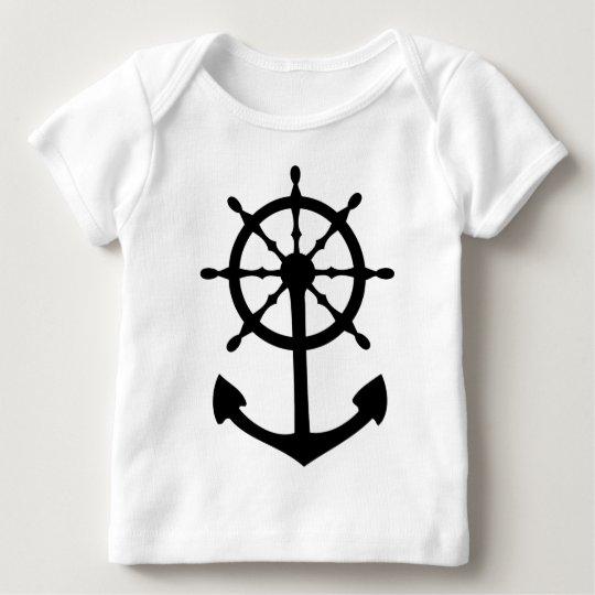 black steering wheel anchor icon baby T-Shirt