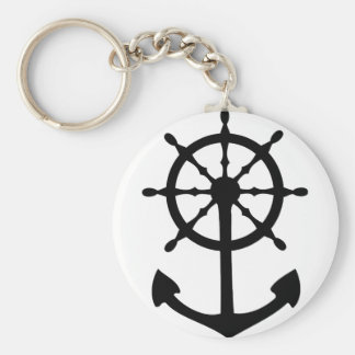 black steering wheel anchor icon keychain
